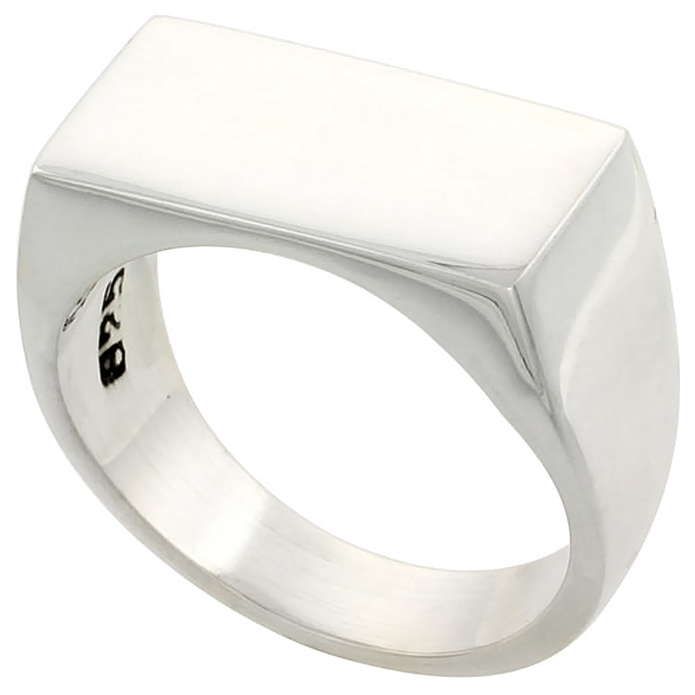 Sterling Silver Rectangular Signet Ring Solid Back Handmade 7/16 inch, sizes 9 - 13
