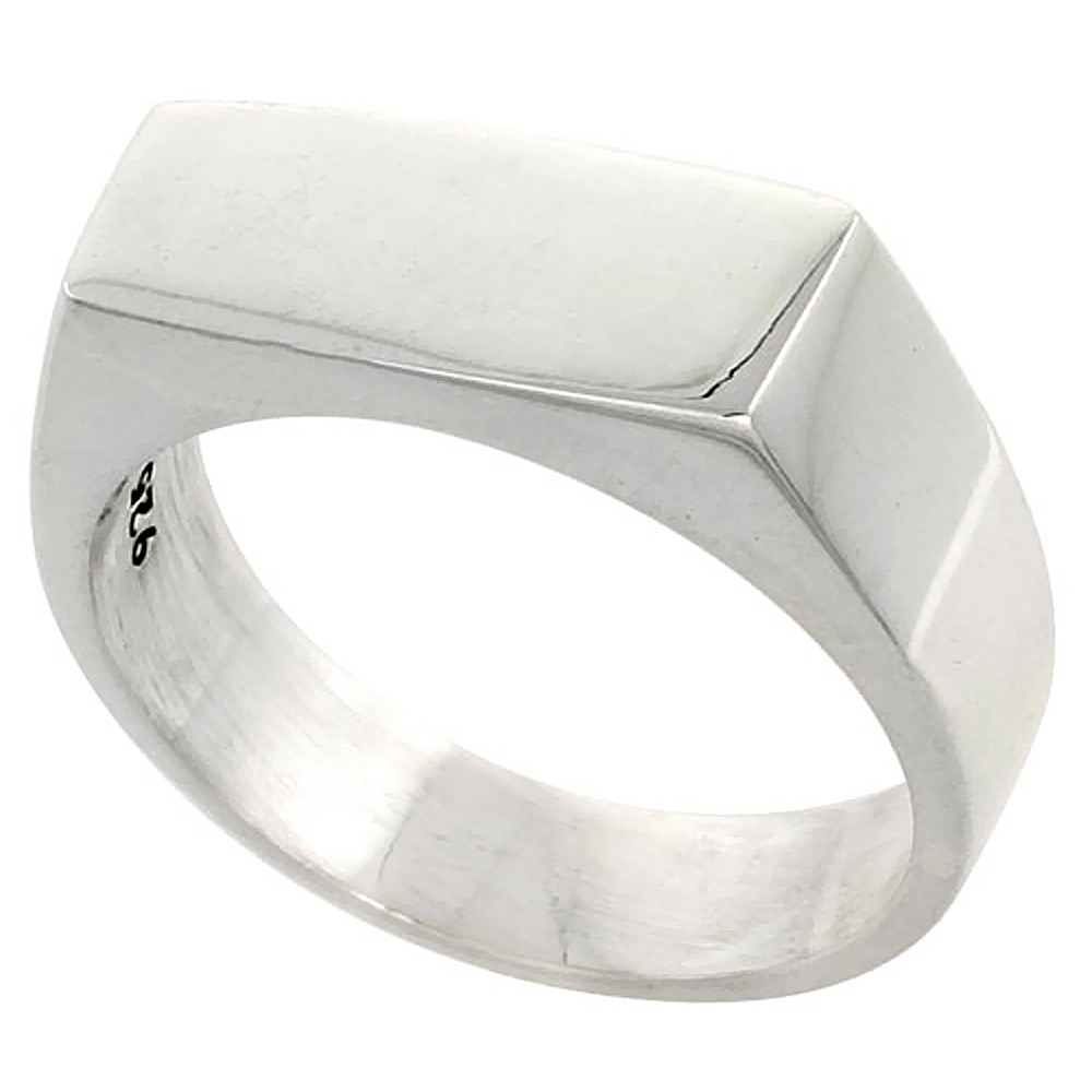 Sterling Silver Signet Ring for Men Small Rectangular Solid Back Handmade 3/4 inch, sizes 7 - 13