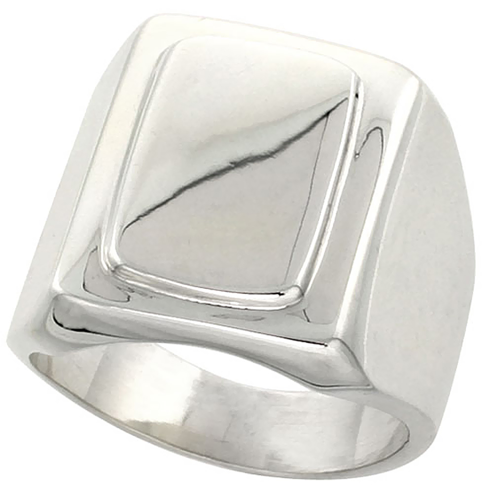 Sterling Silver Large Rectangular Signet Ring Solid Back Handmade 5/8 inch, sizes 9 - 13