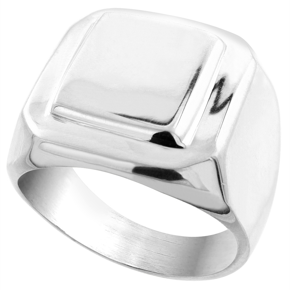 Sterling Silver Signet Ring for Men Large Square Solid Back Handmade 3/4 inch, sizes 9 - 13