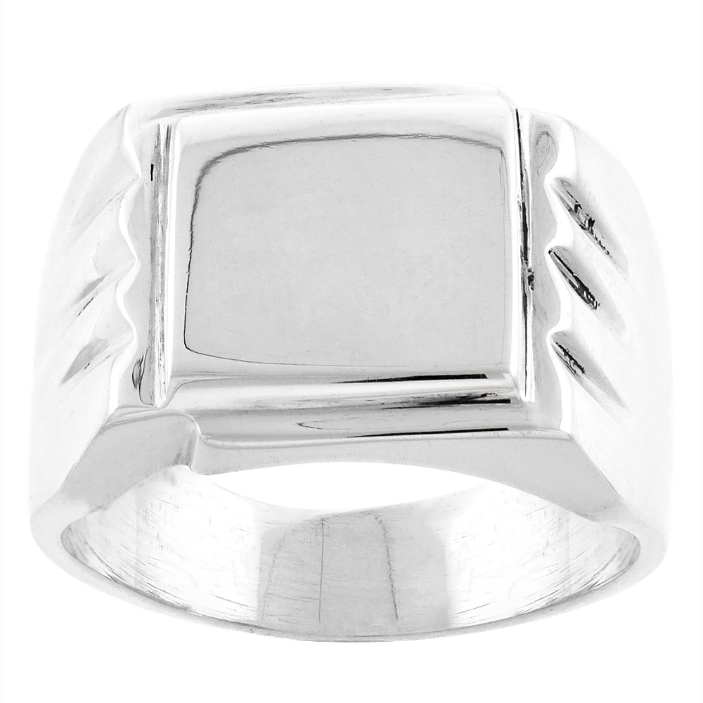 Sterling Silver Square Signet Ring for Men Solid Back Handmade 5/8 inch, sizes 9 - 13