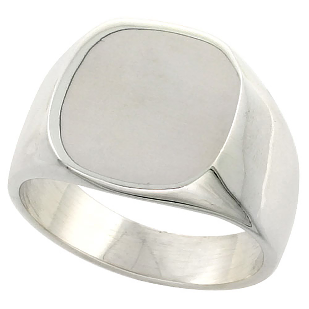Sterling Silver Rounded Square Signet Ring for Men Solid Back Handmade 5/8 inch, sizes 9-13