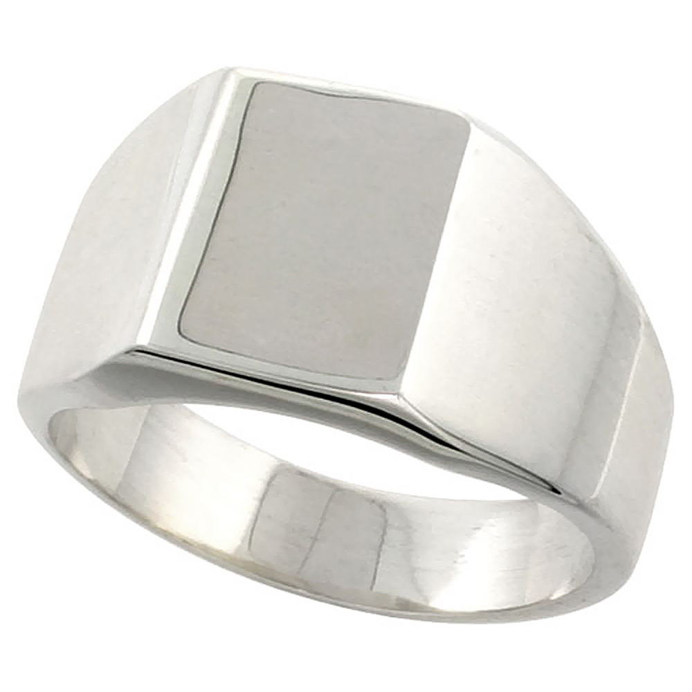 Sterling Silver Square Signet Ring Solid Back Handmade 3/8 inch, sizes 9 - 13