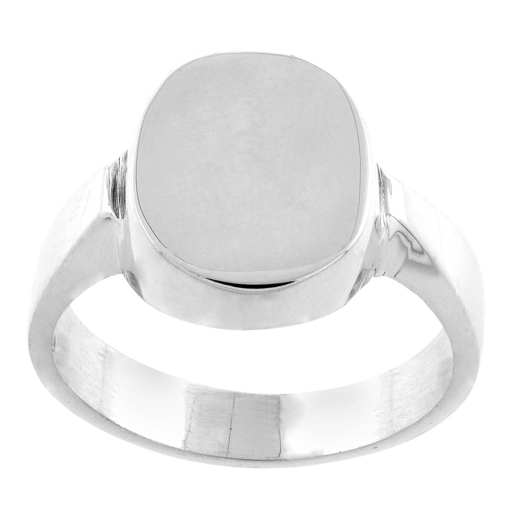 Sterling Silver Oval Signet Ring for Men Solid Back Handmade.5 inch, sizes 9-13