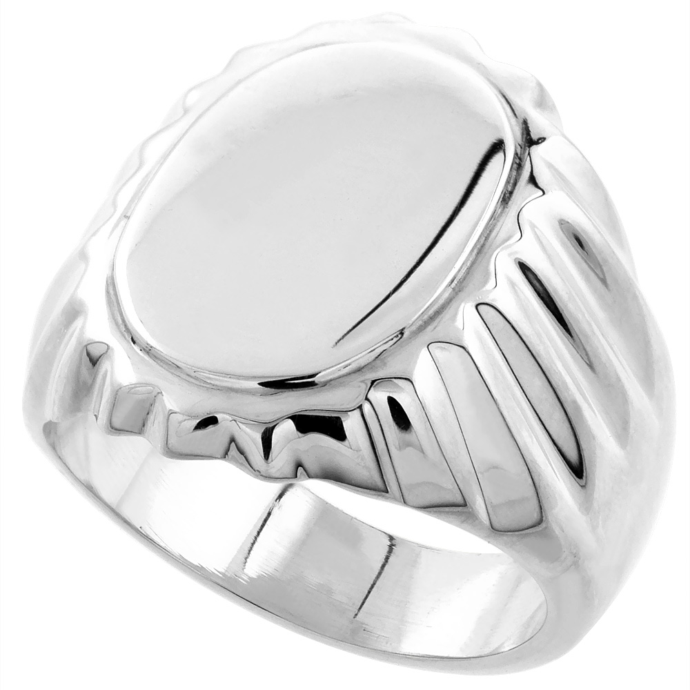 Sterling Silver Signet Ring for Men Large Oval Grooved sides Solid Back Handmade 3/4 inch, sizes 9 - 13