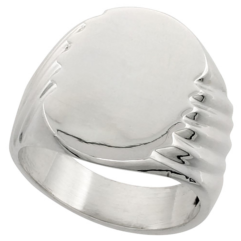 Sterling Silver Signet Ring for Men Large Oval Grooved sides Solid Back Handmade 9/16 inch, sizes 9 - 13