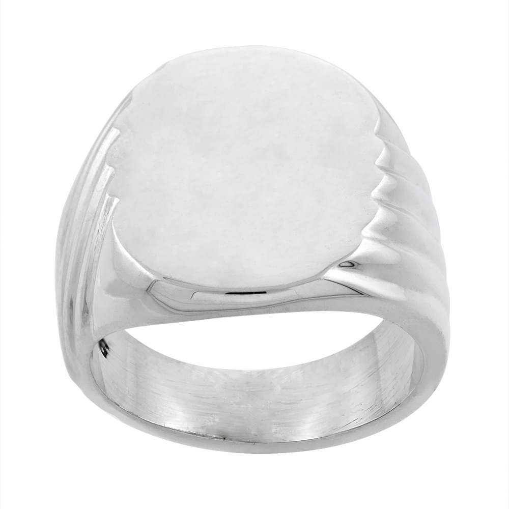 Sterling Silver Large Oval Signet Ring Solid Back Handmade 5/8 inch, sizes 9 - 13