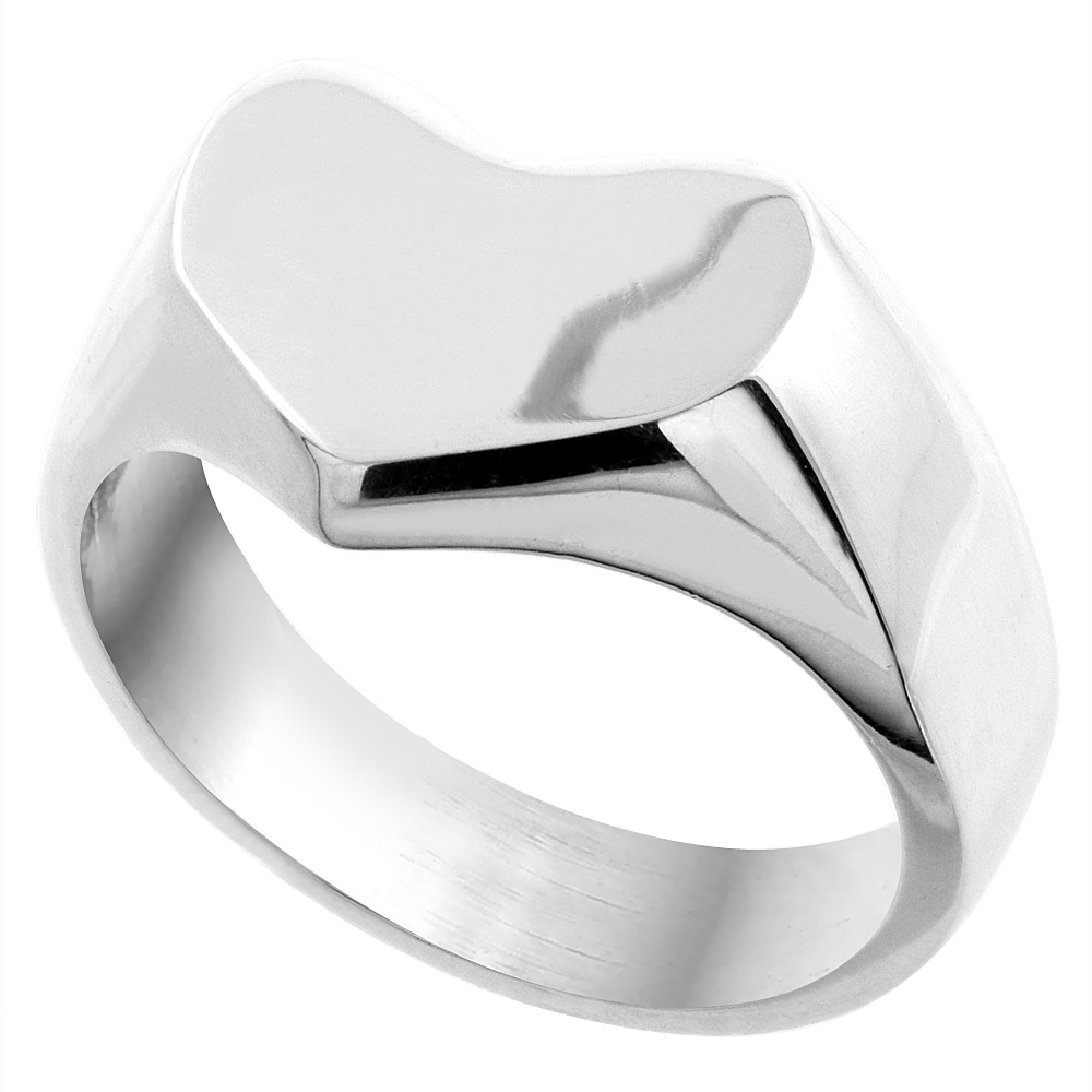 Sterling Silver Heart Signet Ring for Women Solid Back Handmade 5/8 inch, sizes 7 - 10