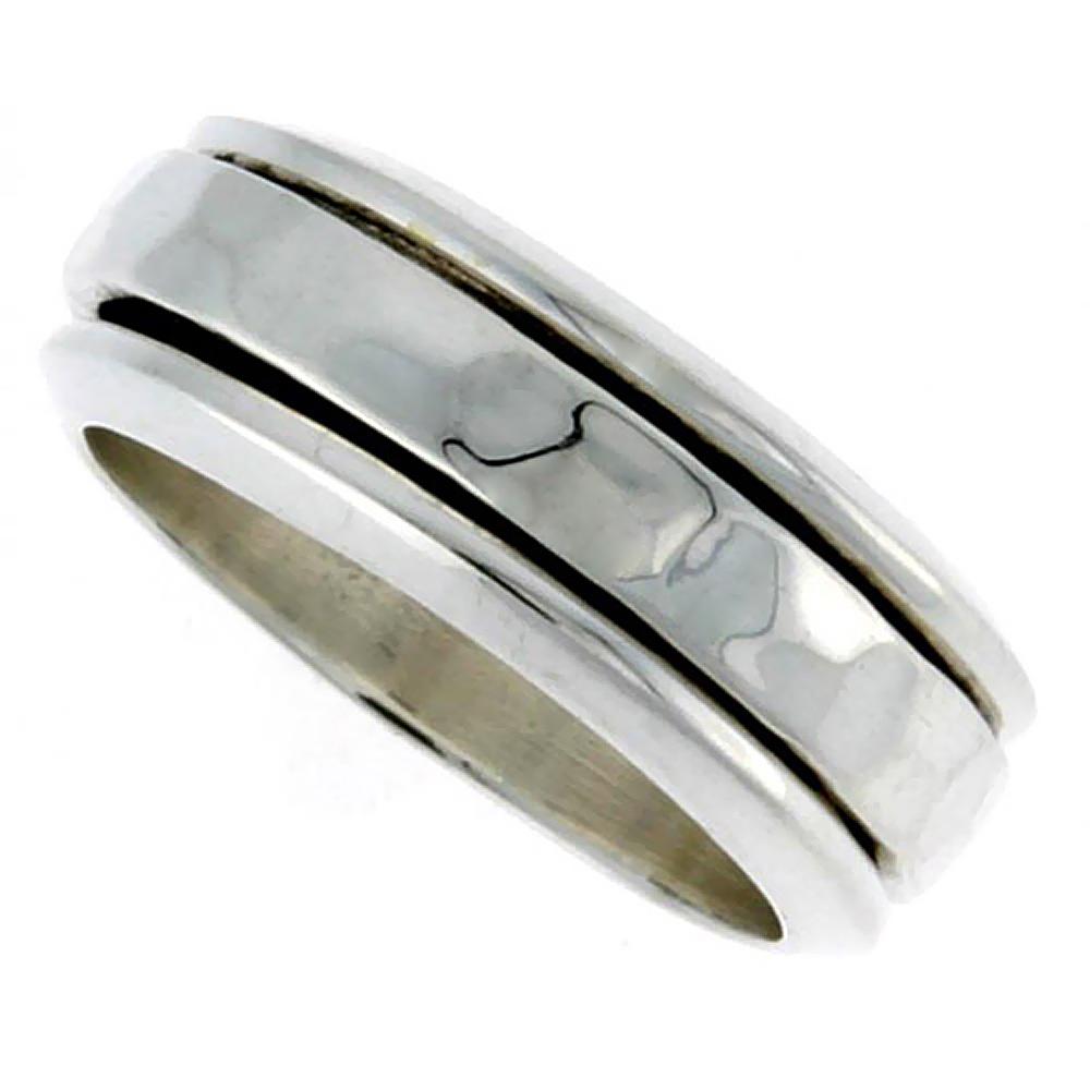 """Handmade Sterling Silver Rope Design Center Spinner Ring 8 mm 5//16/"""""""
