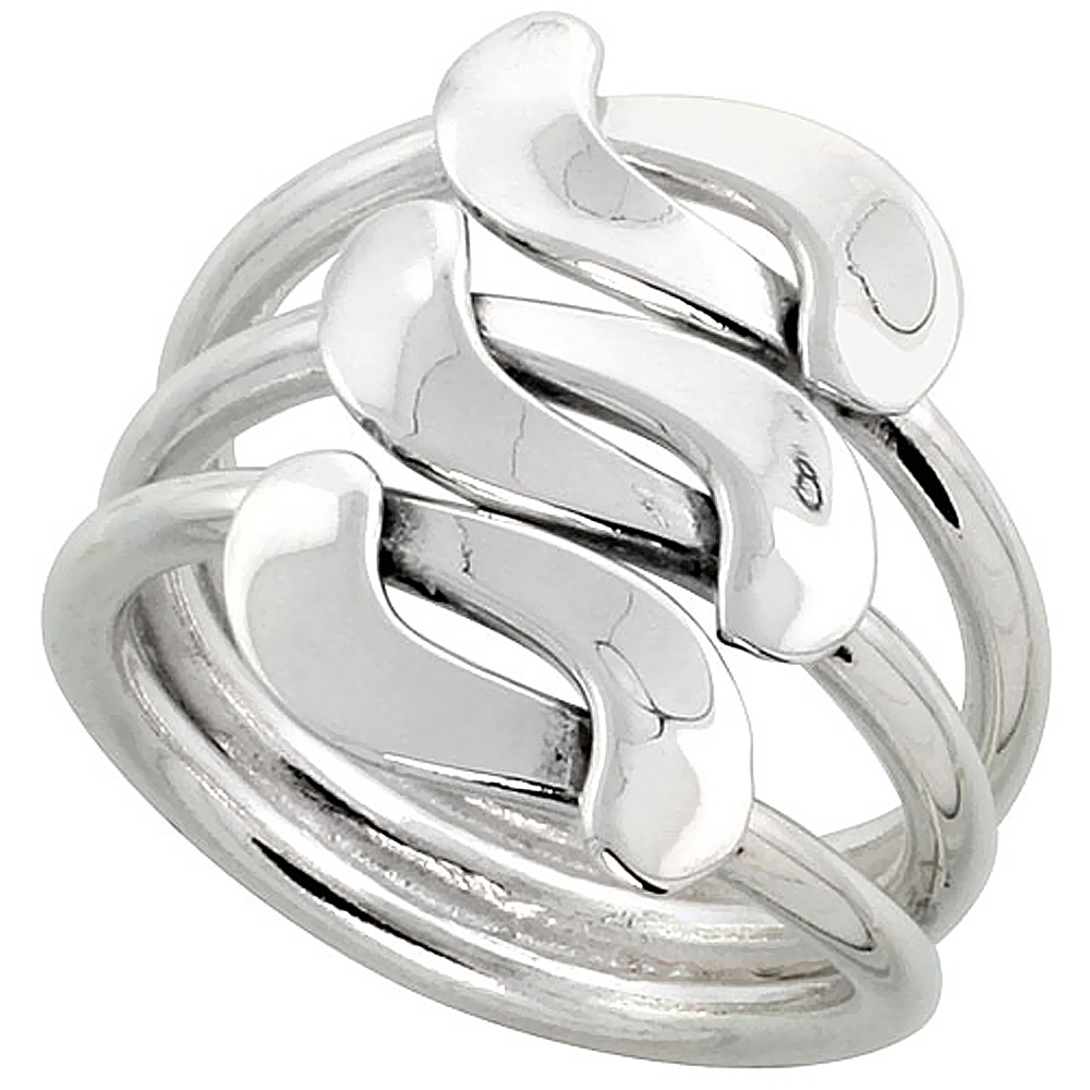 Sterling Silver Bypass Freeform Ring