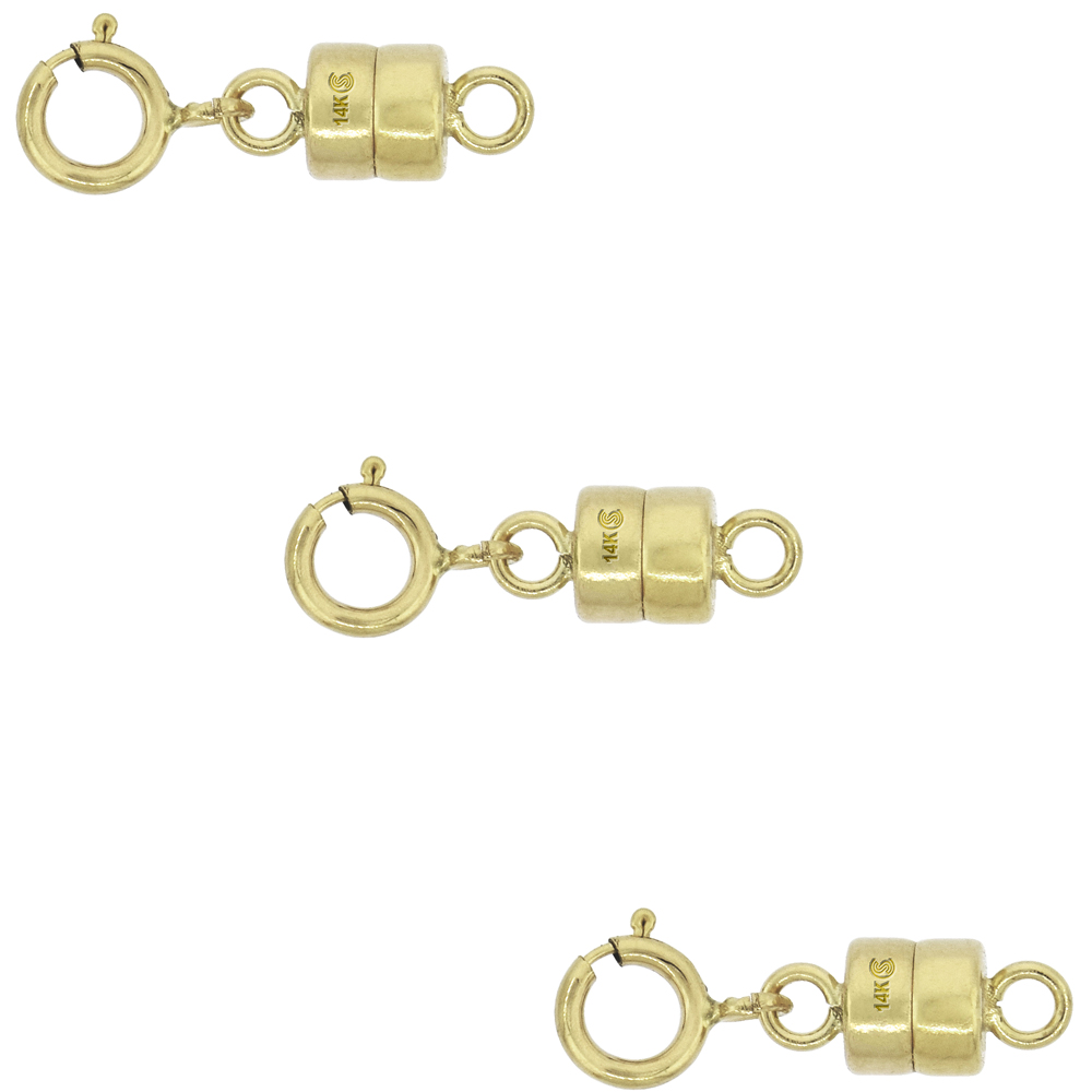 3 PACK 14k Gold 4 mm Magnetic Clasp Converter for Light Necklaces USA, Square Edge