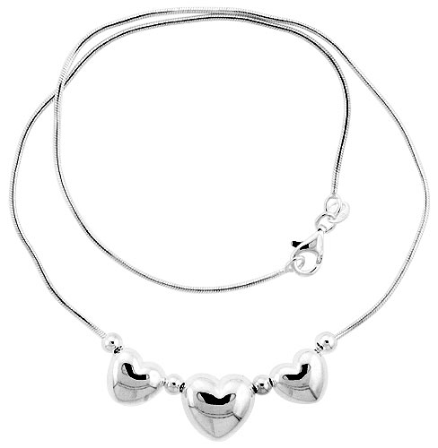 Sterling Silver Necklace / Bracelet with 3 Heart Slides