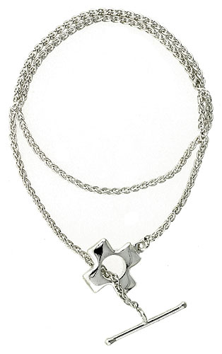 Sterling Silver Necklace / Bracelet with Cross Toggle Clasp
